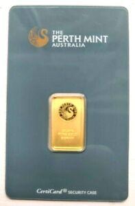 BGB 🌇 Perth Mint 🦢 5 Gram Gold Bullion Bar Jade CertiCard Tamp proof XRF