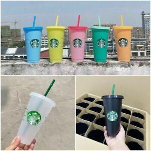 UK! 5PCS Starbucks Logo Reusable Plastic Cold Cup with Straw, 24 fl ozNew