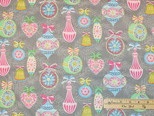 Vintage Noel Pastel & Grey Ornaments Christmas Fabric by the 1/2 Yd  #114.111.01