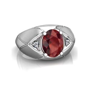 2.50 Ct Red Oval Garnet Solitaire Diamond Men's Wedding Ring In Solid 925 Silver