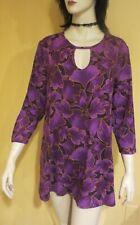 KEYHOLE PEEP NECK Floral Shirt PURPLE TRAPEZE TUNIC TOP xl 1x 2x PLUS SIZE 14/16