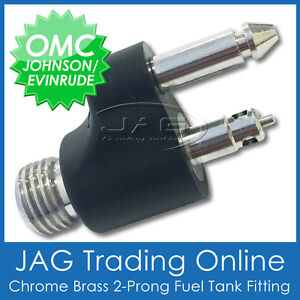 CHROME BRASS FUEL TANK END FITTING for JOHNSON EVINRUDE OMC - Outboard/Boat Line
