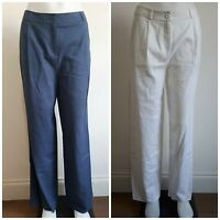 Ex M&S Wide Leg Linen Trousers WHITE BLUE  Size 10 - 18 Leg 30""