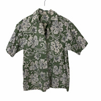 GO BAREFOOT Hawaiian shirt men's short sleeve cotton size L Green White floral