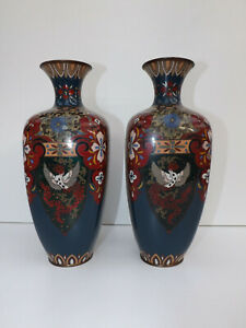 """Antique Meiji Period Japanese Pair Of Cloisonne Mirrored Images Vases 12"""""""