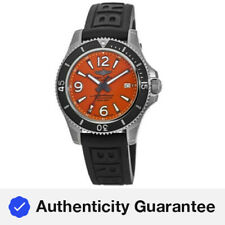 Nuevo Breitling Superocean 42 Naranja Dial Negro De Goma Reloj para hombres A17366D71O1S1