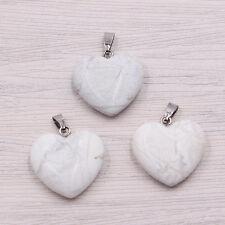 Wholesale lot Fashion Natural heart Gemstone stone Silver P Beads Pendants 20mm