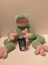 """Giant Frog Plush FAO Schwartz Baby Soft Green And Pink 24"""""""