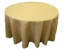 "5 Round 108"" Burlap Tablecloths 100% Fine Natural Refined Jute Wedding 48"" Table"