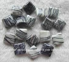 "18mm Natural Black Line Stone Diagonally Square Loose Beads 15"""