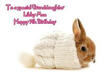 Personalised A5 Cute Rabbit Birthday Card Any Age Relation Daughter Sister Niece
