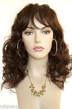 Layers and Bangs Medium Blonde Brunette Red Loose Curls Skin Top Wigs
