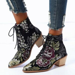 Women Retro Embroidery Ankle Boots Block Med Heel Pointy Toe Lace Up Bootie Shoe