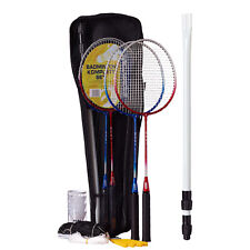 Best Sporting Badminton-Set: 4 Schläger blau und rot, 3 Bälle, Netz und Tasche