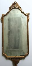 18th Century Gilt Gold Mirror Wood Carved 31 x 12.5 Antique Very Old Foxing