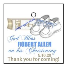 36 Christening Baptism Bible Booties Personalized Gift Hang Tags Pink Or Blue