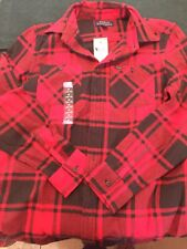 RALPH LAUREN BOYS FLANNEL SHIRT BUTTON RED SIZE MEDIUM M 10/12 NEW WITH TAGS