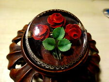 Fabuloso Lucite talladas inversa Retro Vintage Rosas Rojas Broche