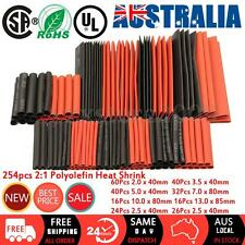 254Pcs Assorted 2:1 Polyolefin Heat Shrink Tubing Tube Wrap Wire Cable Sleeving