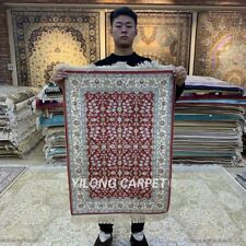 YILONG 2'x3' Small Handmade Silk Area Rug Red Flowers Home Indoor Carpet HF083B
