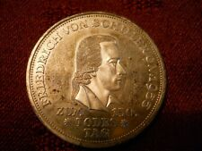 Germany-Federal Republic 1955-F Silver 5 Mark Friedrich Von Schiller - Rare