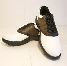 FootJoy 45516 Mens Golf Shoes GeenJoys 7.5 M White Black Brown Saddle Soft Spike