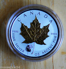 2016 Pure  Silver Maple Leaf - Panda Privy -  With Selective Gold Plating