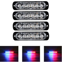 4x 6LED Car Vehicle Strobe Flash Light Emergency Warning Flashing Lamp Blue Red