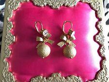 Betsey Johnson Vintage Fashion Fever Disco Gold Glitter Ball Heart Bow Earrings
