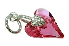 STERLING SILVER &  INDIAN PINK CRYSTAL WILD HEART CHARM