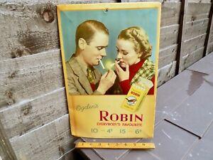 Ogden's Robin Bird Cigarette Tobacco Advertising Card Tin & Celluloid Sign c1936