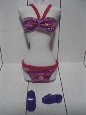 Barbie Doll clothes~Purple/PInk Braid Bikini Matching Shoes A Mermaid Tale Tail