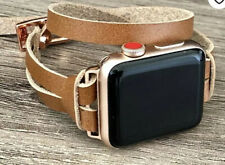 Tan Leather Apple Watch Wrap Band Rose Gold