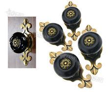 4pcs Vintage Style Black Ceramic Door Knob Cabinet Cupboard Drawer Handle