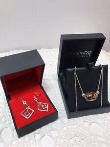 sterling silver Glass Pendant Necklace And Sterling Earrings