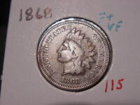 1868 INDIAN HEAD CENT F + VF NICE BETTER DATE COIN COMBINED SHIPPING