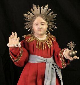 Bambino Di Praga Bambinello Gesù Cristo39 Cm Ihs Jesus Bambinello