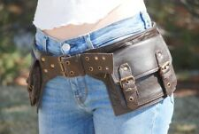 Brown Leather Hip Bag, Waist Pack Women, Utility Belt Men, Festival Belt Bag New