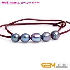 """Women Jewelry 9-10mm 5 Pearls Strand Red Rope Necklace Adjustable Size 17.5"""""""