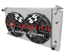"""3 Row Champion Radiator With Shroud and 14"""" Fans for 1968-1980 GM Chevrolet Cars"""