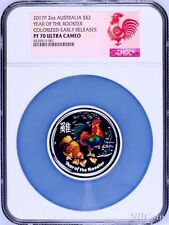 2017 ANDA EXPO PROOF Colored Silver Lunar Year of the Rooster NGC PF70 2oz Coin