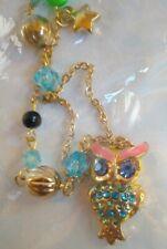 Nueva Joyería de Moda Cadena de Color Dorado + Perla Collar azul adornado con dibujo de búho encanto