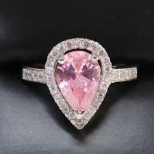 Pink Sapphire Pear Round Diamond Halo Wedding Ring Women Jewelry Size 6 R616