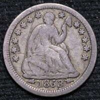 1853 Seated Liberty HALF DIME 90% with ARROWS Circulated 90% Silver Coin 33021D