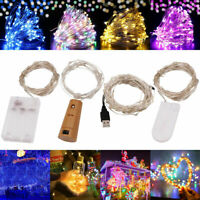 20/50/100 LED Fairy String Light Battery/USB Micro Rice Wire Party Xmas Decor Yc
