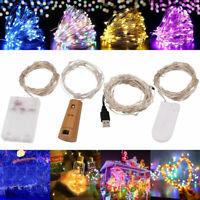 20/50/100 LED Fairy String Light Battery/USB Micro Rice Wire Party Xmas Decor Yc