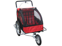 JOGGER BIKE TRAILER CHILD KIDS BIKE BICYCLE STROLLER RED CONVERTIBLE FOR 2 KIDS