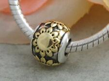HANDMADE SILVER EUROPEAN Charm Bead for Bracelet H38 SUNFLOWER GOLD FLOWER