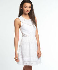 Womens Superdry Lace Panel Skater Dress Optic White S