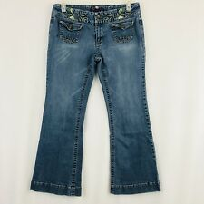 Candies Bootcut Jeans Juniors Size 13 Medium Wash Floral Embroidery Flap Pockets